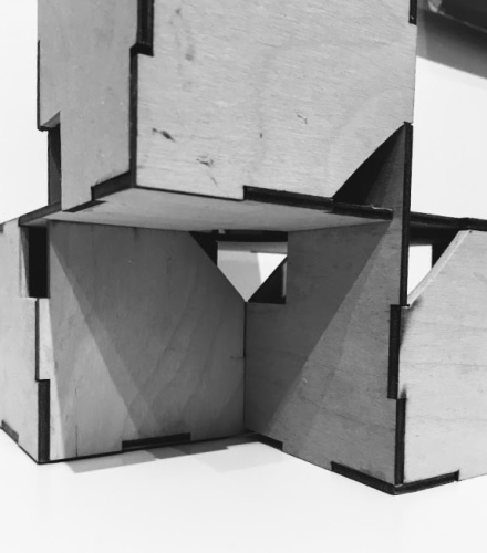 Richard Kallweit, Unit, 1983, laser cut plywood, 6 x 6 x 6 inches